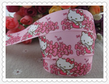"2013 new arrival 7/8"" (22mm) pink hello kitty printed grosgrain ribbon hairbows ribbon hair accessories 10 yards tape(China)"