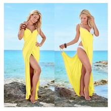 Buy Beach Pareo Women sleeveless v neck high slit strap wrap Long Dress Sexy Loose beach Robe 2018 long maxi beach summer dress for $15.03 in AliExpress store