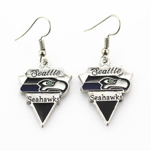5 pair/lot America Football silver earrings Jewelry Team Seattle Seahawks Sports Earring for women earrings Jewelry(China)