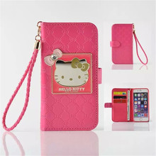 "Cute Luxury Hello Kitty Magnetic Wallet Phone Cases For Iphone 6 4.7"" Leather Case Stand Flip Cover For Iphone 6 With Card Slots"