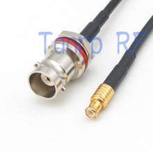 10pcs 6in mini BNC female with nut bulkhead to MCX male RF connector adapter 15CM Pigtail coaxial jumper cable RG174 extension(China)