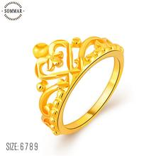 Kiteal Crown Rings For Women Birthday Gift Trendy 24K Gold Color Cubic Zirconia Engagement /Wedding Bands Promise Rings