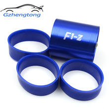 F1-Z Double Supercharger Turbine Turbo charger Air Intake Fuel Saver Fan Blue Color with 3pcs Rubber Ring(China)