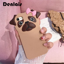 New Funny 3D Animal Pug Dog Cute Cartoon Rubber Soft Silicone Phone Case For iPhone 7 7Plus 6 6S Plus 6Plus Protect Bag Cover(China)