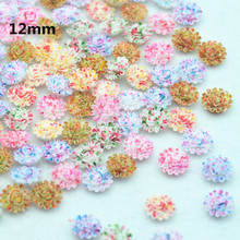 Free Shipping 12mm Fancy Colors Resin Flower Cabochons Mixed Colors