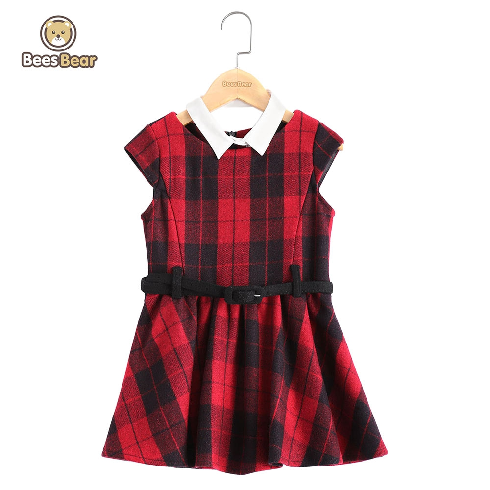 BeesBear Brand Girls 2017 Spring Dress A-line Dress Fall Dresses Kids Girls Mini Plaid Party Dresses with Belt Kids Cute Clothes<br><br>Aliexpress