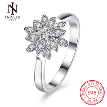 INALIS New Collection 925 Sterling Silver Flower Rings Clear CZ Cute Romantic Ring Fine Jewelry Gift