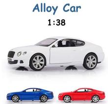 1:38 Model For BENTLEY CONTINENTAL GT Alloy Business Car Model Pull Back Coupe Toys Licensed Diecast Vehicle Model Cllection Toy