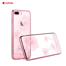 COMMA Case i7 i7+ i7Plus Funda Coque Cornflower PC Plated Hard Casing Crystal for Apple iPhone 7 Plus 4.7'' 5.5'' Smartphone