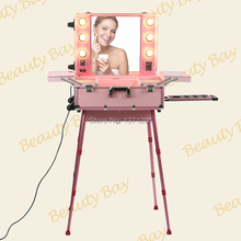 Popular pink aluminium aluminum makeup case with lights trolley cosmetic case