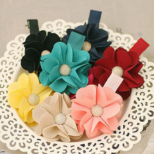 Solid Color Thick Cotton Begonia Flower with Metal Button Alligator Hair Clip Handmade Color Flower Barrette for Girls