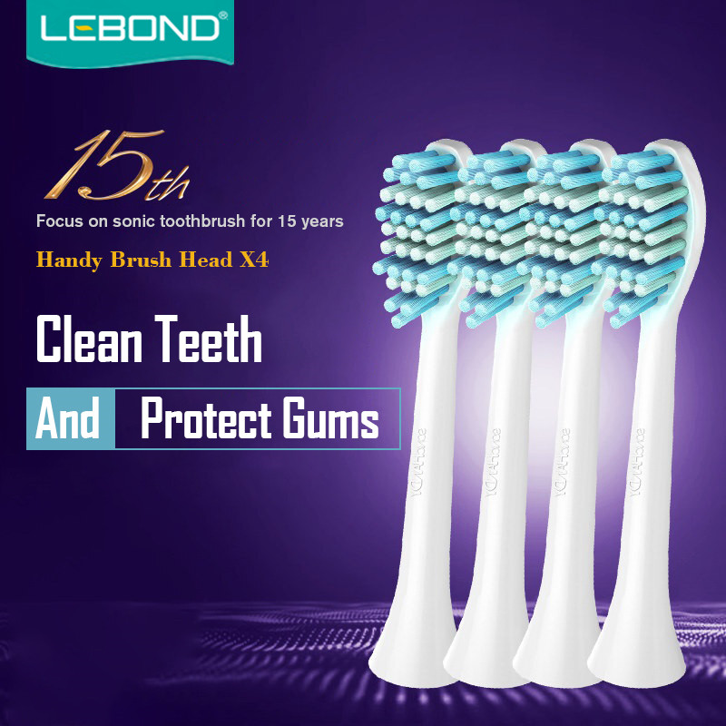 LEBOND Sonic Electric Toothbrush Heads Handy Series 4 Pcs For All LEBOND Adult Toothbrushes<br>