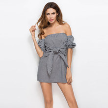 Sexy Off The Shoulder Backless Vestidos Lace Up Bow Pile Sleeve Checks Print Night Club Wear Dress Female Mini Strap Dress