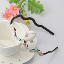 New Design Lady Girl Cute Rhinestone Hair Band Pretty Flower Leaf Headband Women Floral Wave Hair Hoop Headwear