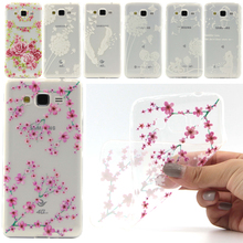 Transparent Soft phone back cover capa For J200 Pink flower plum blossom White lace pattern shell For samsung galaxy J2 case