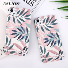 USLION Ultra Slim Leaf Case For iPhone 7 6 6S Plus Painted Red Green Leaves Pattern Phone Case Hard PC Full Back Cover Coque