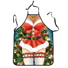 1Pcs Sexy Women Christmas Adult Apron Bibs Home Cooking Baking Party Funny Cleaning Aprons Kitchen Accessories Gift 46051
