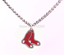 New Wheat Link Bracelet Chain with Large Clasp enamel single-sided Boston Red Sox baseball sports Charm necklace(China)
