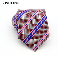 KT064 HOT Man Ties 100% Silk 8CM Pink Blue Stripes Neckties for Men Self-tied Formal Business Wedding Party Suit Corbatas(China)