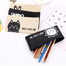 cartoon creative canvas zipper pencil case stationery bag Office & School Supplies pouch