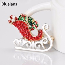 Bluelans Women's Chic Santa Sleigh Xmas Themed Multicolor Brooch Pin Breastpin Christmas Gift(China)