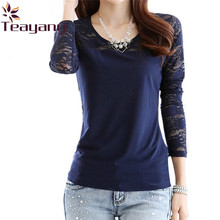 Sexy Women Long Sleeve Blouse O Neck Stitching Navy Lace Floral Casual Shirt Base Layer Tops Plus Size S-XXL