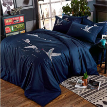 New design Flying white swans dream fine embroidery 100% cotton dark blue cartoon 4pcs comforter/duvet cover bedding set/3914