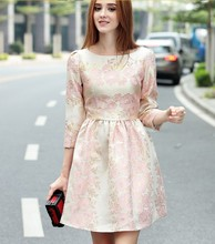 2017 New women's quality fashion design dresses embroidery girls autumn soft elegant dress slim sexy club dress size XL L M #W61(China)