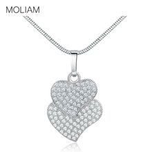 MOLIAM Double Heart Necklaces Pendants Made With Cubic Zirconia Crystals Stone Jewelry Gifts for Women MLP060(China)