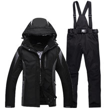Black Green Blue Cheap Men Woman Unsex Ski snowboard Pure color Clothing skiing suit set outdoor Costume Winter snow jacket+pant(China)