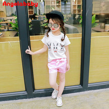 Gress Clothes Set 2017 Summer New Cute Cartoon Bunny T-shirt + Shorts Baby Children Clothing Set