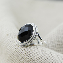 Wholesale 925 sterling silver ring opening big black onyx live COOL BLACK RETRO personality and ring(China)