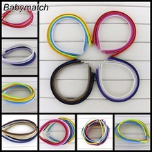 Babymatch 60pcs/lot 7mm Kids Headbands Plain Solid Color Satin Covered Resin Hairbands Ribbon Covered Adult Headband(China)