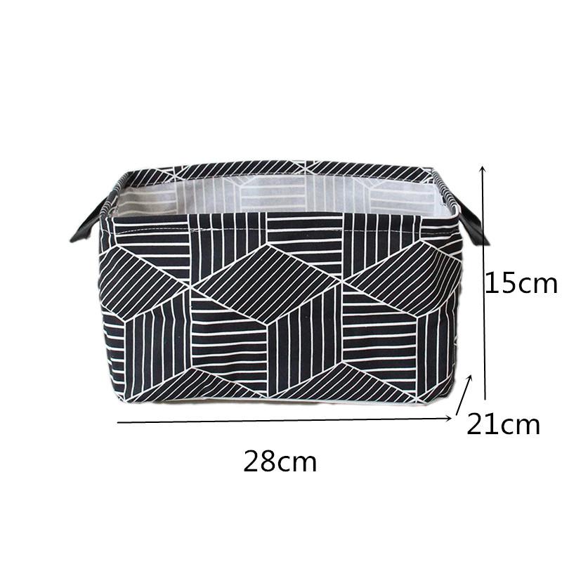 FullLove Home Storage & Organization Cotton Square Nordic Cosmetics Organizer Toys Storage Basket Black Geometric Storage Boxes 4
