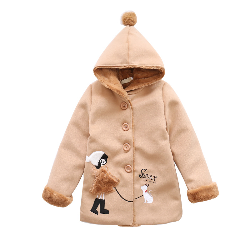 Girls Autumn Winter Coat Children Long Thick Overcoat Girl Red Pink Jacket For Kids 6 8 10 12 14 Years<br>