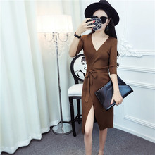 New European cardigan night club sexy fashion V neck long sleeve open - cut knit dress hip women sweater Solid with sashes YYFS