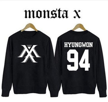 MONSTA X kpop Clothing Korean version of the Hoodies Autumn k-pop MONSTA men women Long sleeve Fleece coat Sweatshirt Outerwears(China)