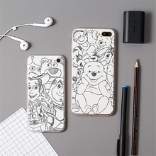 Cartoon Cute Art sketch Winnie Pooh Capa Para Sketch Cover for iPhone 7 case Cute bear Pooh for iPhone6 6S Plus Soft Cover Coque