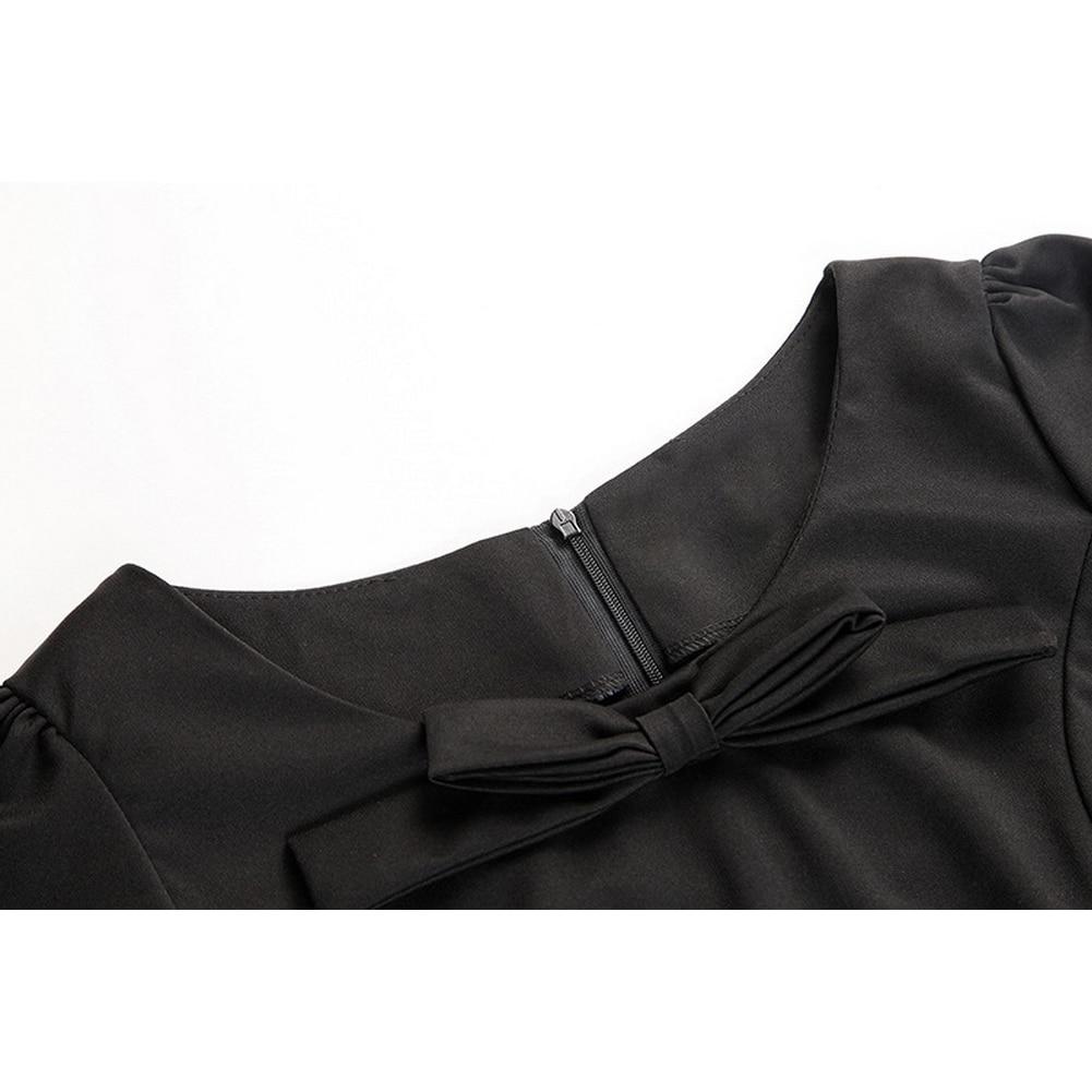 Autumn Elegant Plus Size Short Sleeve Women Bow O-Neck Black Mermaid  Dresses Office Lady Midi Dress  e350a46621dc