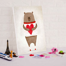 DIY oil painting lovely bear with love  digital paint by numbers diy digital painting drawing practice for kids
