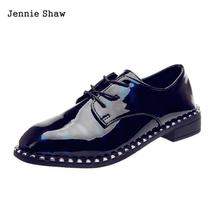 Women's Shallow Lace Up Woman Flats British Style Casual Work Shoes Sys-1522(China)