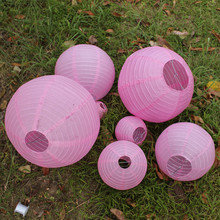 7pcs/set Mixed Sizes(4/6/8/10/12/14/16inch)Paper Lanterns birthday wedding party decorations Round paper lantern Pink color(China)