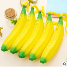 Novelty Yellow Banana Silicone Pencil Case Stationery Storage Bag dual Coin Purse Key Wallet Promotional Gift Stationery