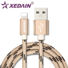 XEDAIN Soft Striped Cotton Braided Wire Aluminum Casing Sync Data Charger USB Cable quality for iPhone 7 6 6s Plus 5 5s iPad Air