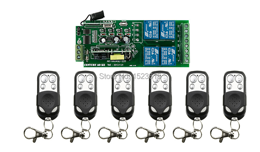 85v~250V 4CH 10A Radio Controller RF Wireless Relay Remote Control Switch 315 MHZ 433 MHZ teleswitch 6 Transmitter + 1 Receiver<br>