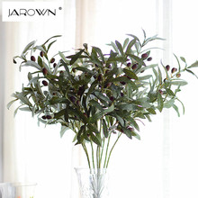 Artificial Flower Leaf Green Olive Branches Simulation Fruit Artificial Plant Leaves Wedding Decorative Bouquet DIY material(China)