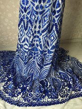 Fashionable Royal blue French net lace fabric Sequins paillette fabric for party(China)