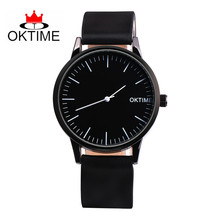 OKTIME Simple Mens Watch Brand Quartz Living Waterproof Black Dial Leather For Men Casual Business Wrist Watch Montres Homme(China)