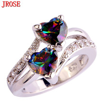 JROSE Wholesale New Fashion Heart Birthstone Ring Rainbow & White Cubic Zirconia Silver Color Jewelry Ring Size 6 7 8 9 10 11 12