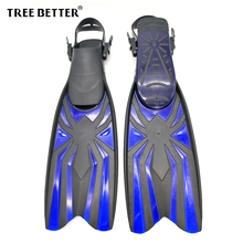 TREE BETTER Adult Snorkeling Swimming Fins Professional Frog shoes Diver Swim Foot Flipper Open heel long Diving Fins Blue S XL